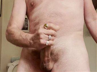 Daddy strokes cums and eats it