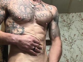 tatted redneck jacks out a load