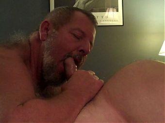 Full move of 2 mature guys making love.